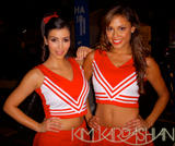 Kim Kardashian and Vanessa Minnillo showing off theri bodies in cheerleader outfit on the set of Dissaster Movie -